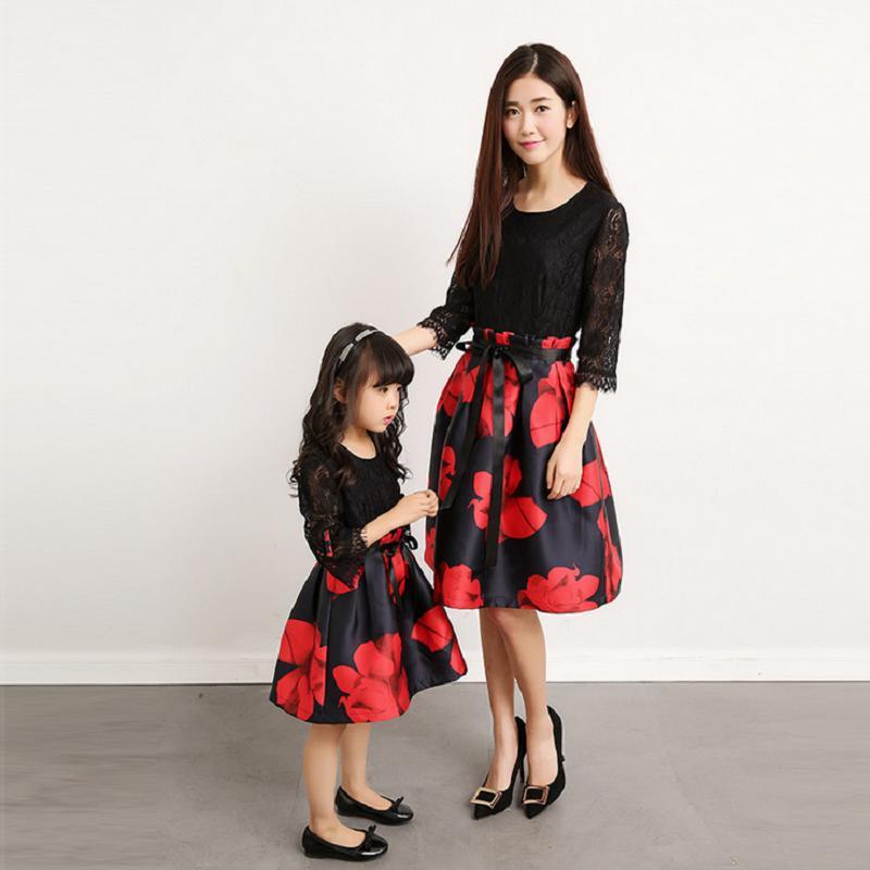 f369b0d8a3ba Madre Hija Vestido Trajes a juego Mujeres Chica Ropa de bebé Fiesta Mamá  Mamá y yo Ropa Mirada Familiar Vestidos Moda
