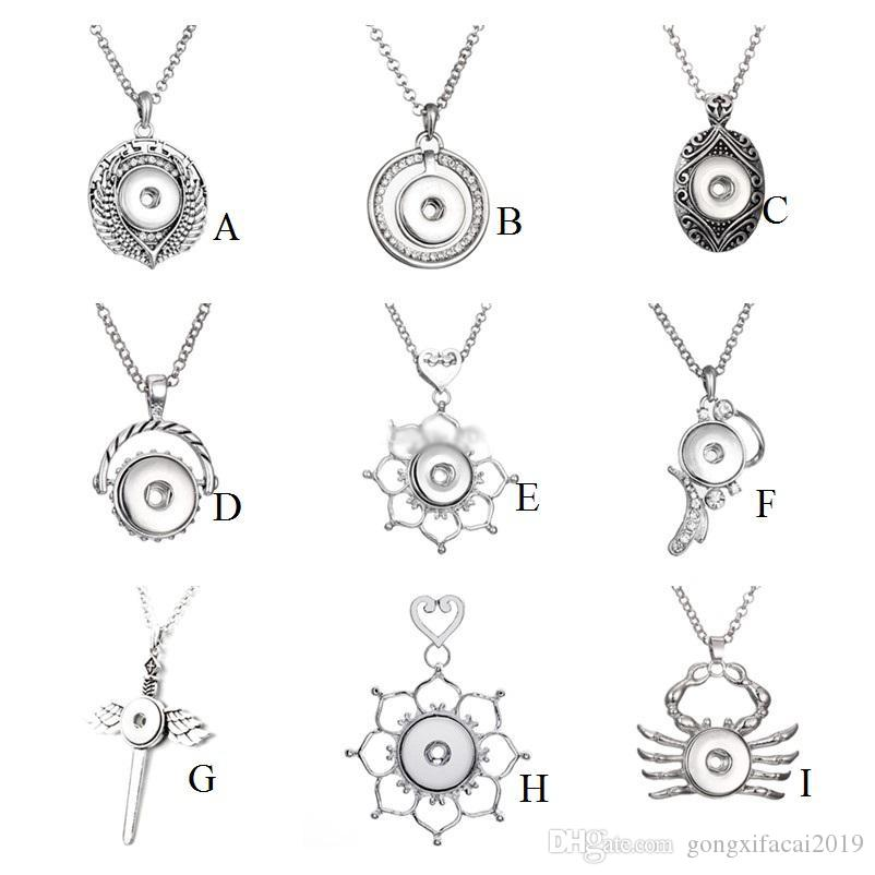 9 Styles Noosa Assorted Ginger 18mm Snap Buttons Chunk Charms Vintage Multi Pendant Necklaces Stainless Steel Chain Jewelry