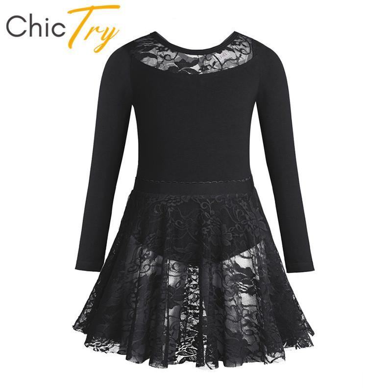 4129b4649 2019 ChicTry Kids Cotton Long Sleeve Lace Gymnastics Ballet Leotard With Ballet  Tutu Skirt Set Children Girls Lyrical Dance Costumes From Redbud01, ...