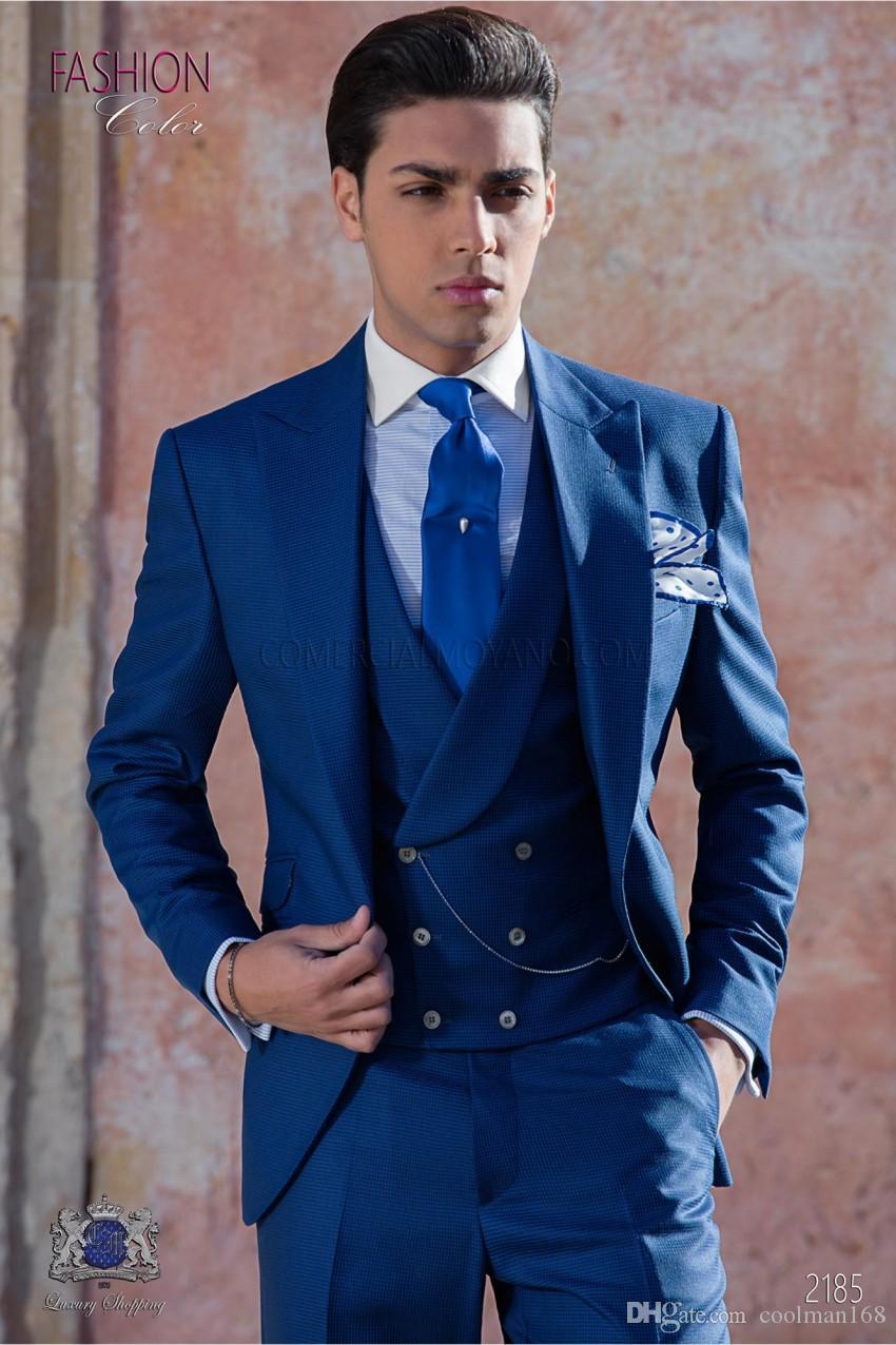 a76198531 Fashion Royal Blue Groom Tuxedos Peak Lapel Groomsmen Mens Wedding Dress  Excellent Man Jacket Blazer 3 Piece Suit(Jacket Pants Vest Tie) 943