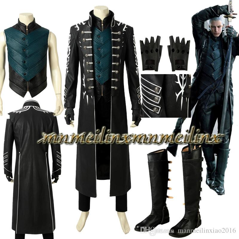 Devil May Cry V DMC5 Dante Aged Outfit Costume Cosplay Coat Boots Full Set Shoes