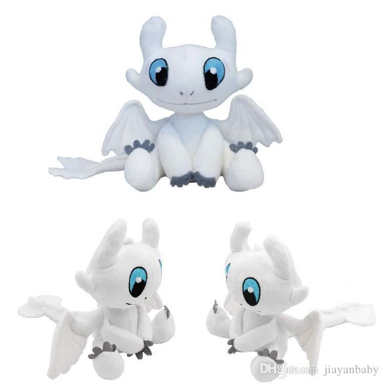 20pcs 25cm (9.84inch) How to Train Your Dragon 3 Plush Toy 2019 New movie Toothless Light Fury Soft White Dragon Stuffed Doll Christmas Gift