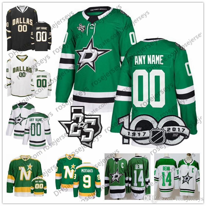 timeless design 17f92 1d359 Custom Dallas Stars Green White 100th 25th Jersey Any Number Name men women  youth kid Black Minnesota North Klingberg Benn Bishop Zuccarello
