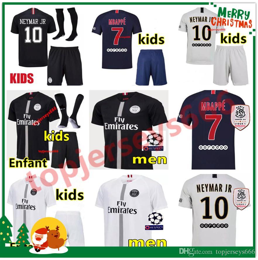 best website a5cd7 478a8 Top quality PSG soccer jersey 2019 Man and kids maillot de foot psg 3rd  third MBAPPE CAVANI jerseys 18 19 Paris Maillots de football shirt