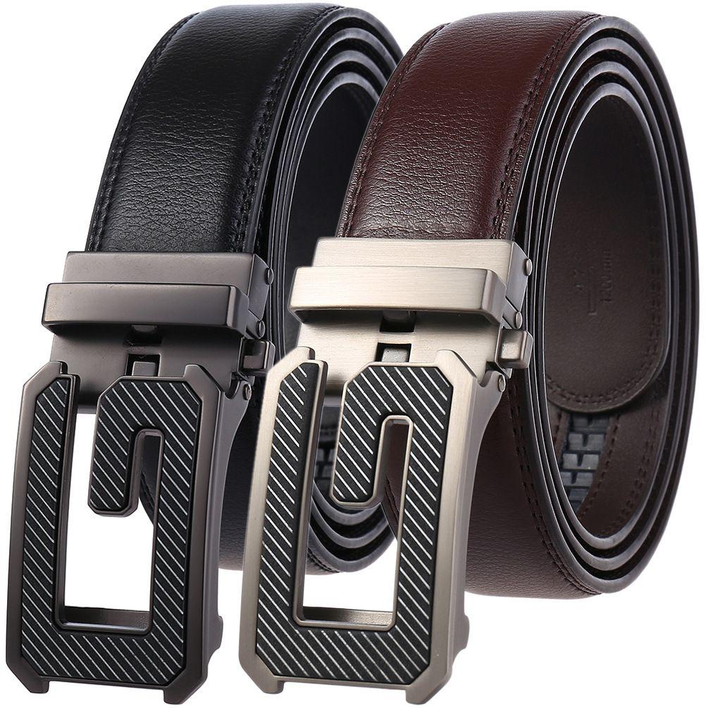 "2019 Top quality Mens Belt Genuine Leather Belt Auto Buckle Waist Size 30/""-45/"""