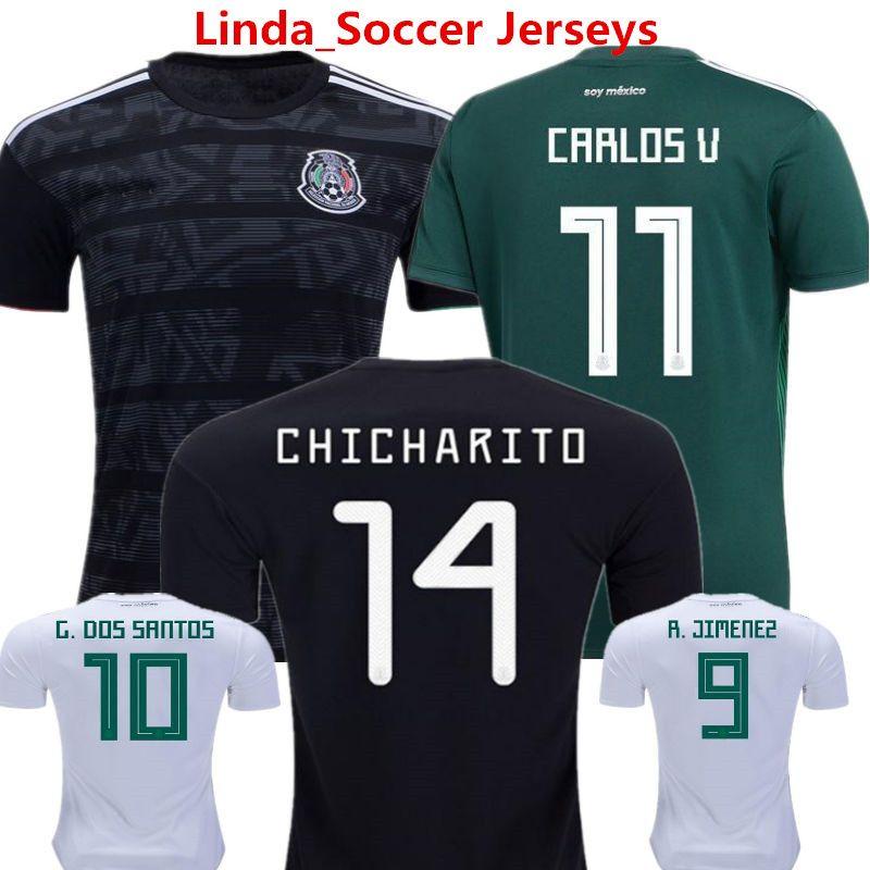bb0b4e5b6e0 2019 Mexico 2018 World Cup Soccer Jersey Chicharito Football Shirt Lozano  Dos Santo C.VELA America Long Sleeve Camisetas Away Black Woman Uniform  From ...