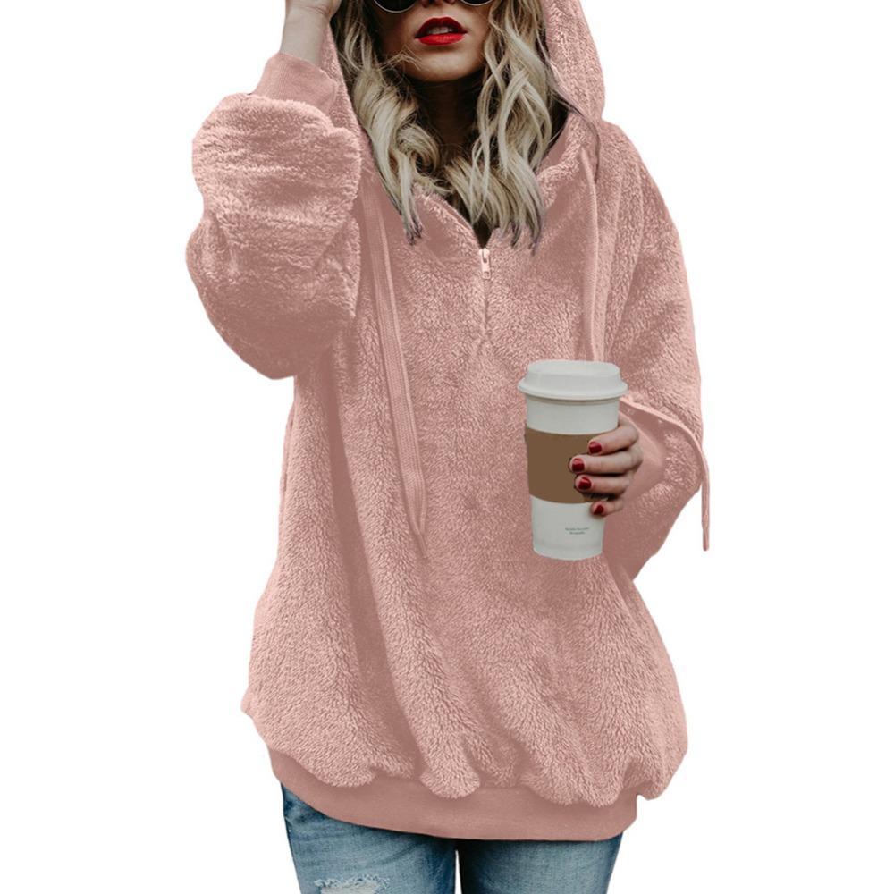 2019 Womens Winter Thicken Warm Long Sleeve Sweatshirt Solid Color 1 4 Zip  Up Fluffy Faux Fleece Pullover Hoodies Coat From Gavinuni 4025bdadb