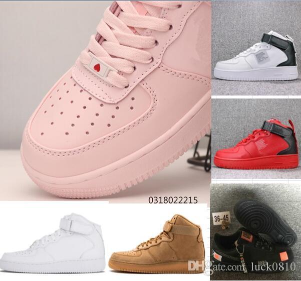2019 hohe forced id air herren laufschuhe für designer weiß schwarz frauen rosa athletic sports trainer zwingt zapatos chaussures 36 45
