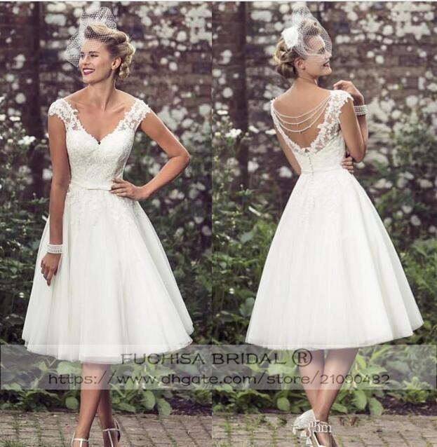 459a12e29901 V Neck Sheer Straps Vintage Tea Length Wedding Dress with Beadings Back  50'S 60'S Retro Short Bridal Dress Gown