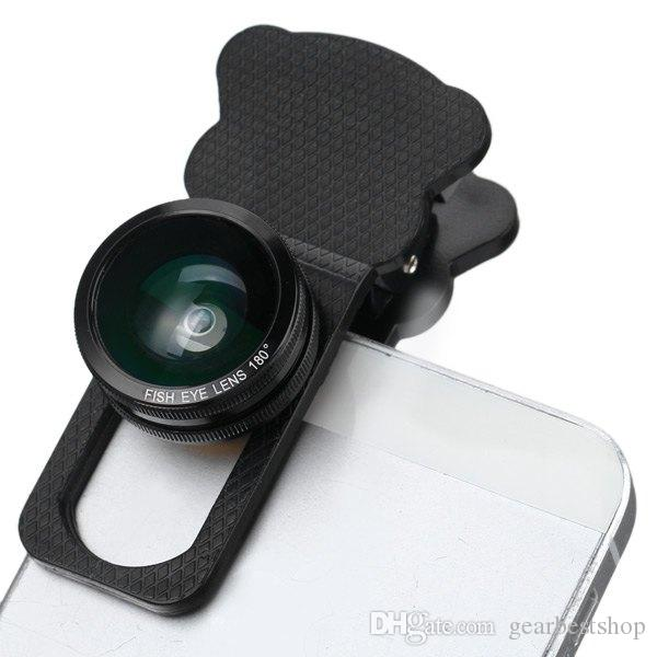Fish Eye Wide Angle Macro Telephoto 4-in-1 Universal Cat Clamp Photo Lens