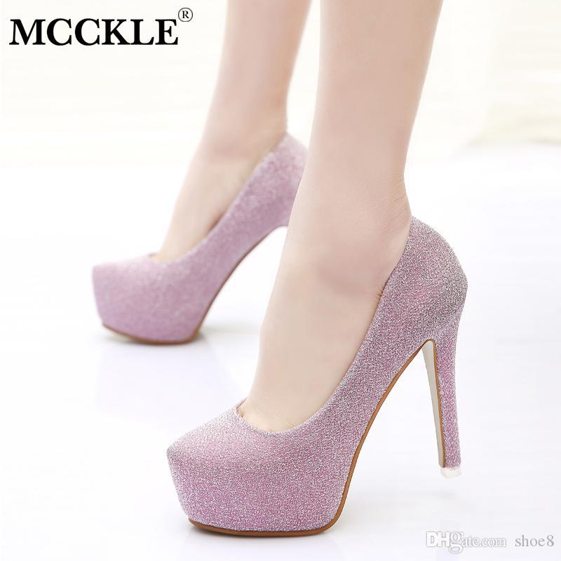 a7b288aeea Designer Dress Shoes MCCKLE Women Spring Plus Size Shallow High Heels  Ladies Pumps Pointed Toe Sequined Cloth Slip On Party Thin Heel Sexy