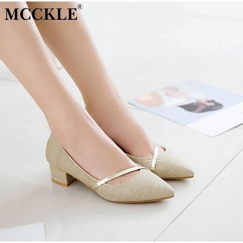 6ac556fb7d Compre Zapatos De Vestir Mujeres Mcckle Brillo Bombas De Tacones Gruesos  Calzado De Moda Femenina Para Mujer Resbalón En Punta Estrecha De Cuero  Nubuck ...