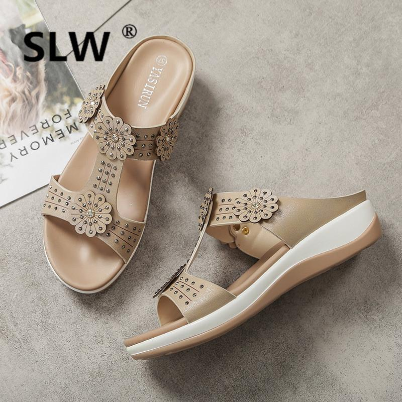 3aae86efa78 T Strap Flower Wedges Slippers Crystal Narrow Band Gladiator Sandals Female  Muffins Summer Platform Shoes 2019 New Design Biker Boots Gold Shoes From  ...