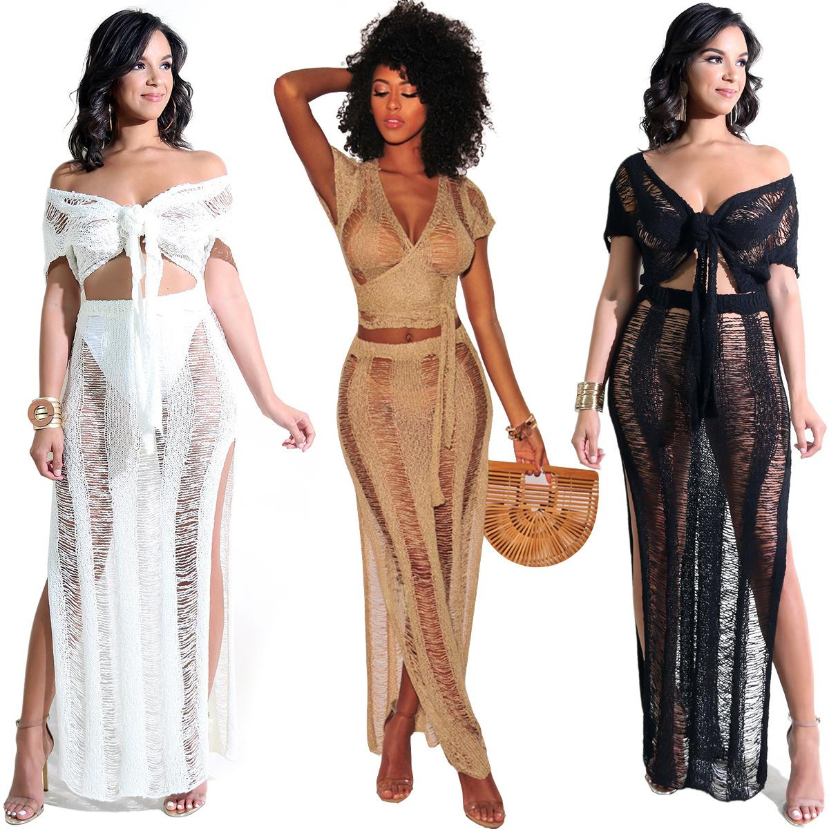 women's nightclubs hollow perspective nightclub knit skirt beach two-piece suit women designer maxi dresses clothes dresses