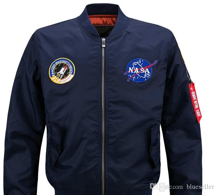 8137da952 2019 wholesale youth popular personality emblem decorative face jacket men  s solid color MA1 bomber jacket thick men s design jacket