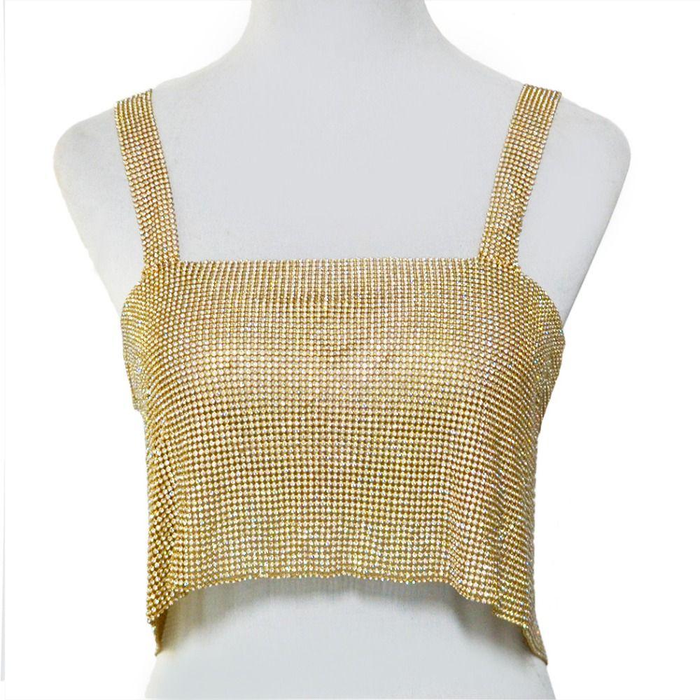 f270fe25cdc05 2019 Sexy Lady Crystal Silver Gold Metal Mesh Bra Bikini Halter Necklace  Metallic Strap Crop Top Vest Celebrate Body Chain Jewelry From  Dushijewelry