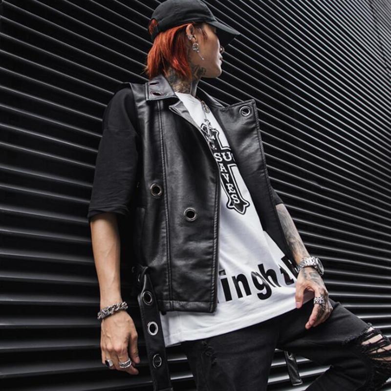 plus récent bf918 afb94 Printemps été hommes hip hop veste en cuir punk slim fit veste sans manches  hommes biker moto casual cuir faux gilet homme