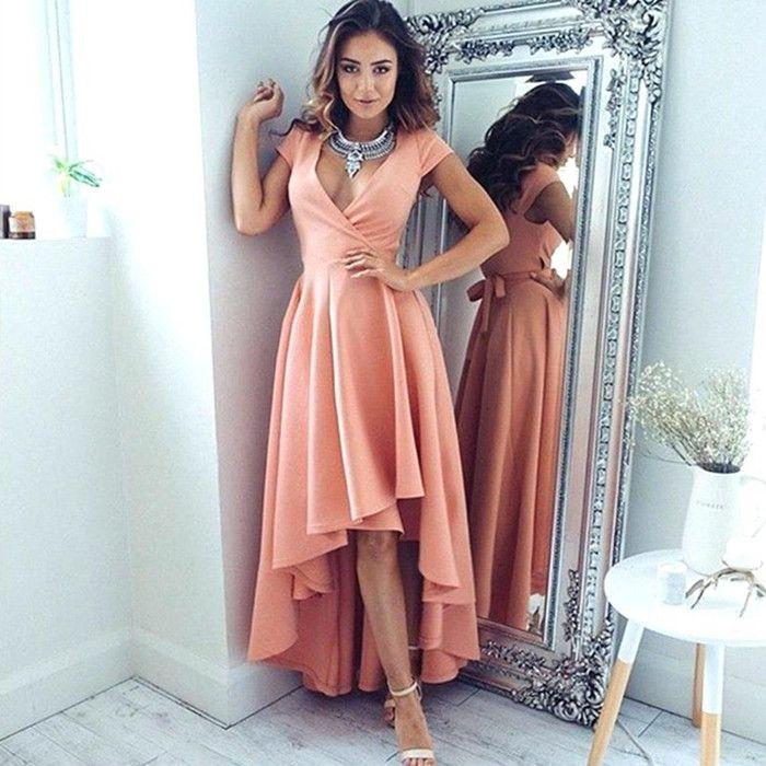 f60dd7a7ffcd0 2019 New Pink High Low Prom Dresses Pleats A Line Sexy V Neck Bridesmaid Evening  Dresses Vestido Longo De Festa Party Dresses BM0197 Prom Dresses Plus Size  ...