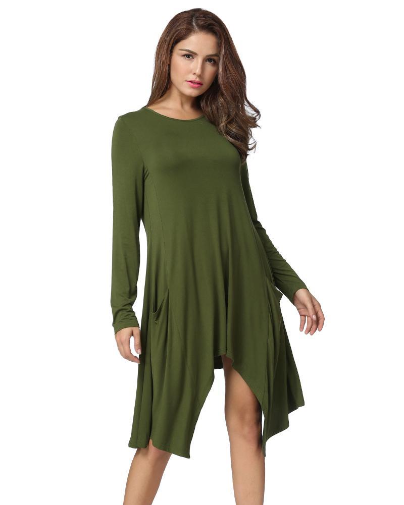 0fa4686960c Compre 2019 Mujeres Otoño Vestido O Cuello Manga Larga Sólido Flojo Vestido  Asimétrico Flowy Swing Camiseta Ocasional Vestido Negro / Gris / Verde Del  ...
