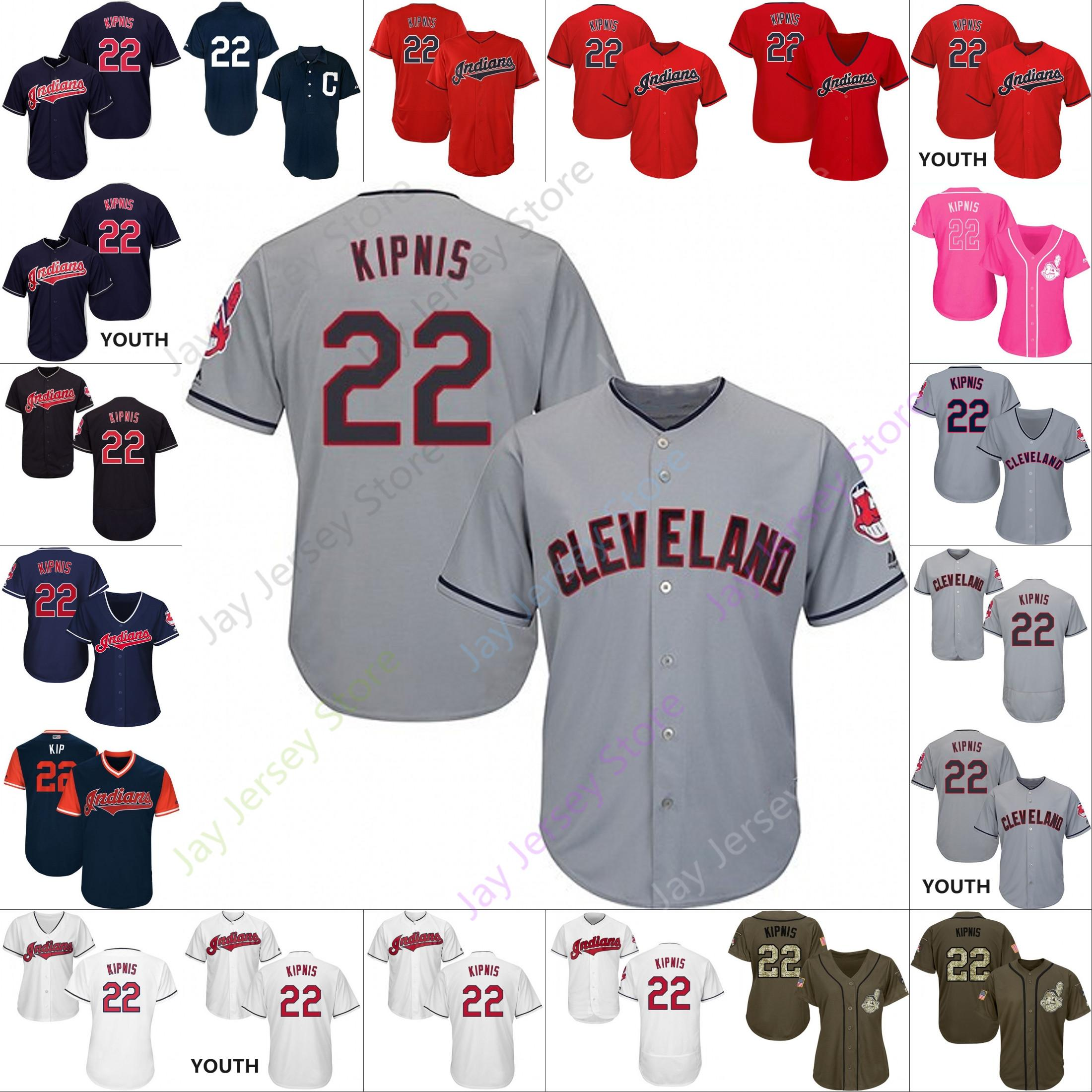 the best attitude 9b00b 79dd4 Custom Cleveland 22 Jason Kipnis Jersey Indians Jerseys Cooperstown Cool  Base Flexbase White Black Red Grey Home Away Men Women Youth Cheap