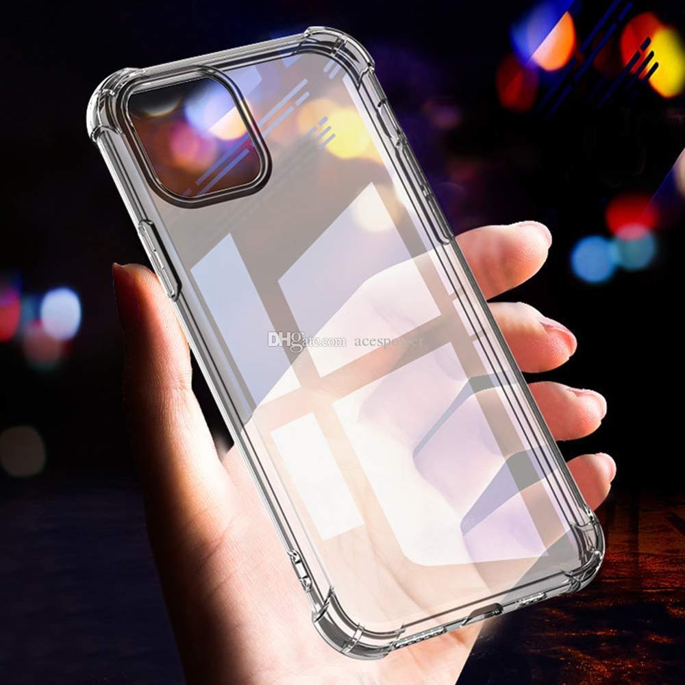 Super anti-knock morbido TPU trasparente trasparente Cassa del telefono Proteggi coperchio Casi antiurto iPhone 11 Pro Max X XS Nota10 Mate 30 Pro