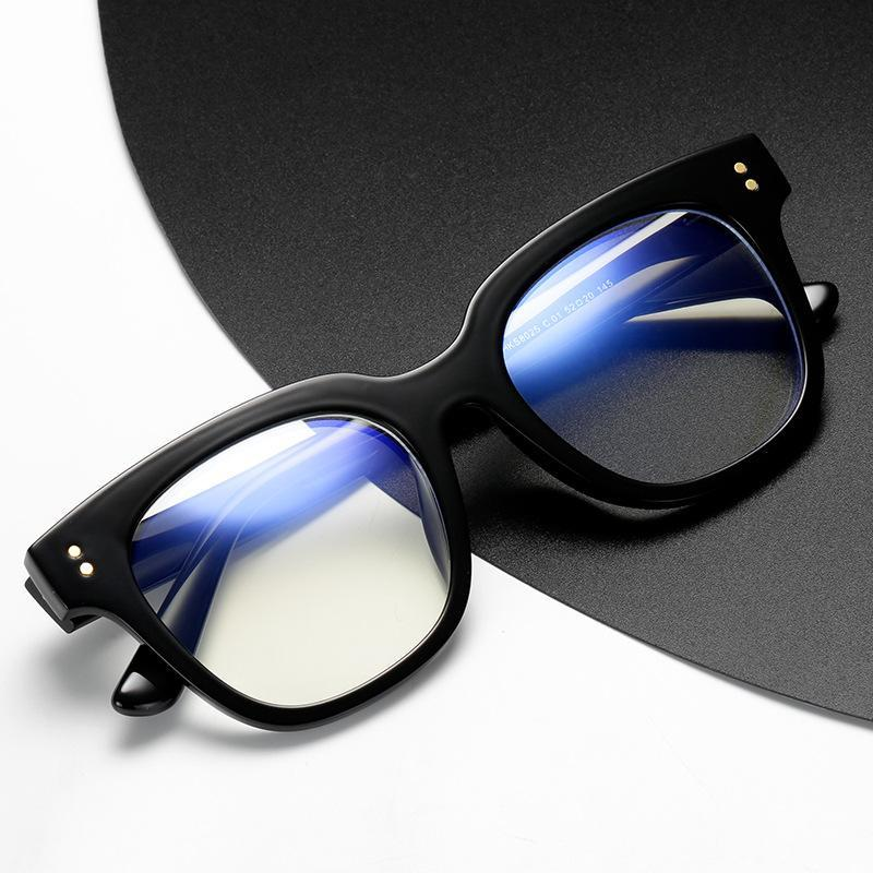 2019 new anti-blue light black frame flat mirror men and women students anti-computer radiation square plate glasses frame eyewear