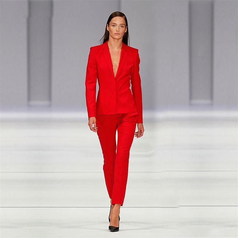 finest selection c7640 e5dad Giacca rossa Pantaloni Abiti da lavoro da donna Uniforme da ufficio Disegni  Donna Elegante abito da donna formale Pantalone 2 pezzi Personalizzato