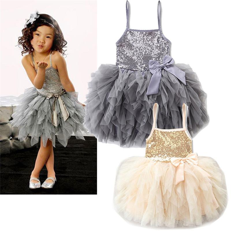 03d78b4e4f8402 2019 Cute Sequins Strap Princess Dress Kids Girls Dresses Lace Bowknot  Tulle Tutu Dress Ball Gown Wedding Party Clothing Summer From  Childrenclothing2017, ...