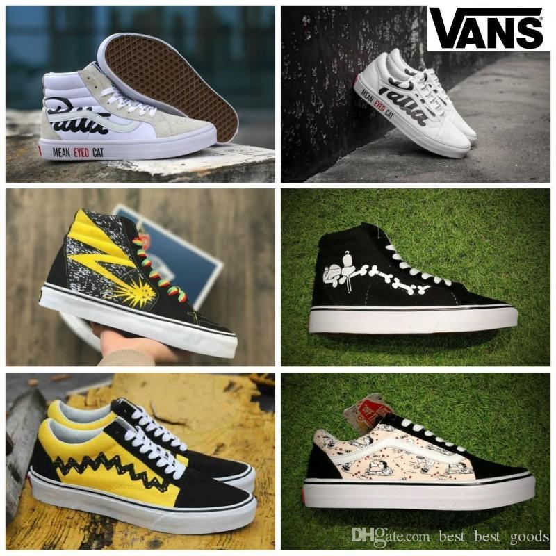 4f9250af3d 2019 2019 Vans Peanuts Mens Womens Canvas Skate Shoes Snoopy Cartoon Comic Old  Skool High Top Slip On Zapatillas De Deporte Casual Sneakers 36 44 From ...