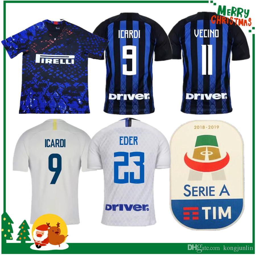 Compre 18 19 Inter Home Away 3ª Camisola CANDREVA EDER ICARDI JOVETIC 2018  2019 Milão Kondogbia Jovetic Icardi Sports Azul Branco Verde Camisas De ... b32f9e7d51996