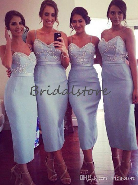 Sexy Baby Blue Country Bridesmaid Dresses Short Spaghetti Strap Tea Length Beaded Petite junior bridesmaid dresses Midi Maid Of Honor Gown