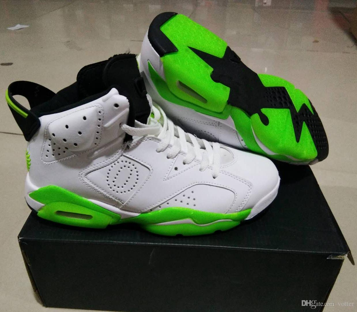 2019 New 6 PE Oregon Ducks Wings O Man Basketball Shoes JumpDucks 6s Apple Green white player exclusive custom Sneakers Mens Sport Shoe