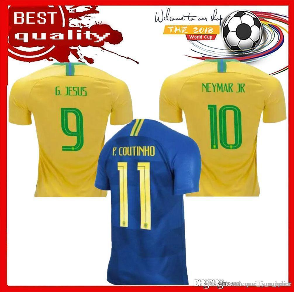 32f11be77 2018 World Cup Brazil Home Soccer Jersey Brasil 10 NEYMAR JR Soccer ...
