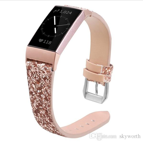 Bands for Fitbit Charge 3 Shiny Glitter Powder PU Leather Blingbling Band Wristwatch Bracelet Strap Belt