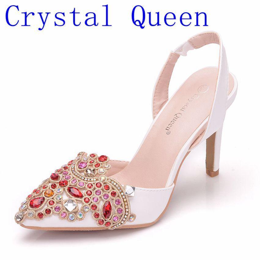 d8299c0c7 Wholesale Women Bridal Wedding Shoes Platform High Heel Red Rhinestone  Crystal Peep Toe Bride Bridesmaid Ladies Prom Pumps Slip On Shoes Mens  Loafers From ...