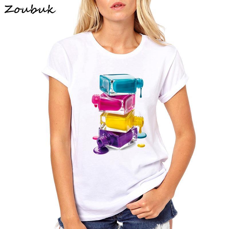 267b1abe2ae Summer Top Nail Polish T Shirt Women Elastic Basic Vogue T Shirts Femme  Maiden Casual Tshirt Ladies Tee T Shirt Women Plus Size Y19042202 Design Tee  Shirts ...