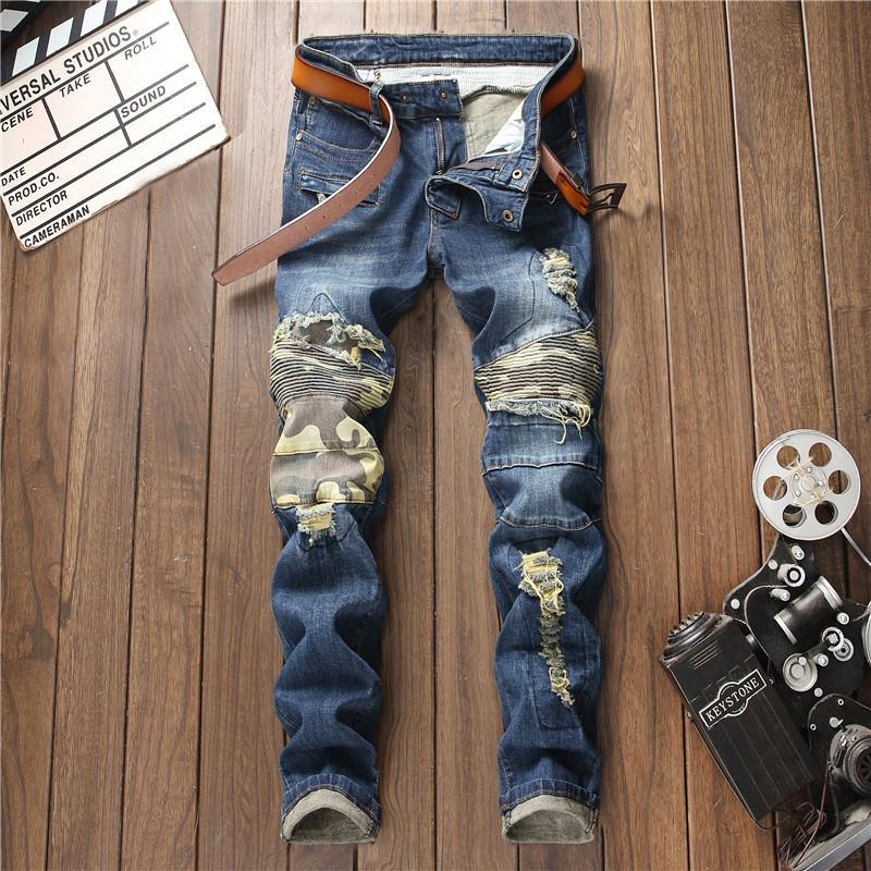 2019 New Hole Ripped Stretch Camo Modedesigner Button Jeans Herren Straight Zipper Farbe Gedruckt Mens Jeans Ripped