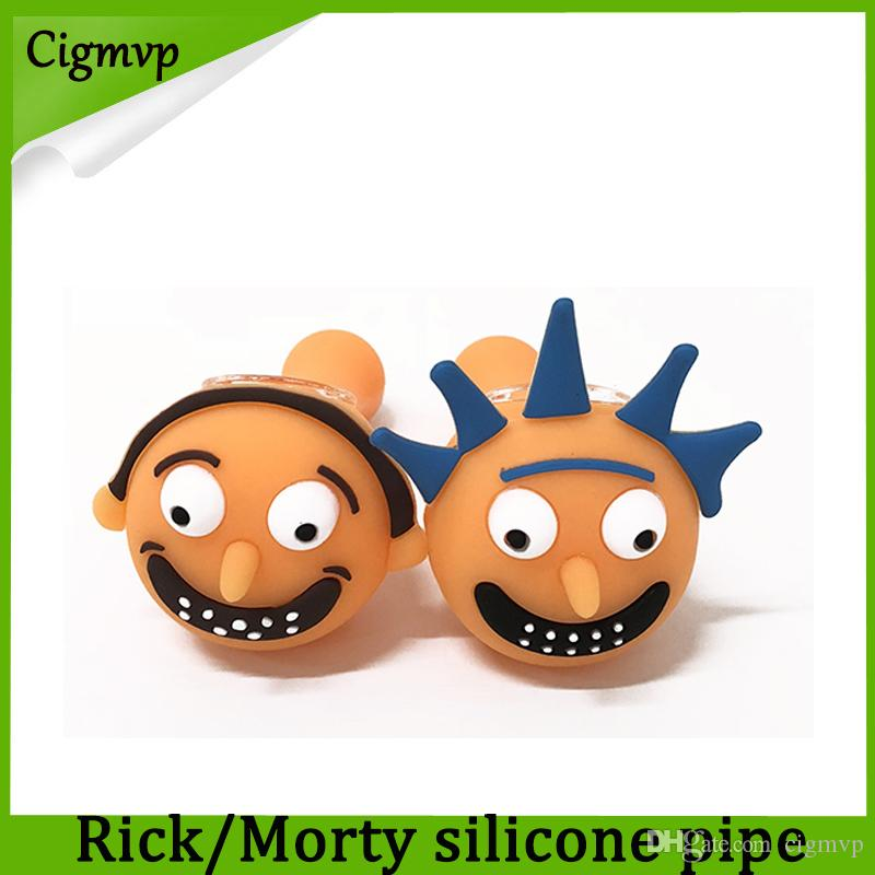 Rick And Morty Silicone Smoking Pipe 2pc Lot With Glass Bowl Spoon Hand  5 12 Inch Green Tobacco Herb vs twisty glass blunt