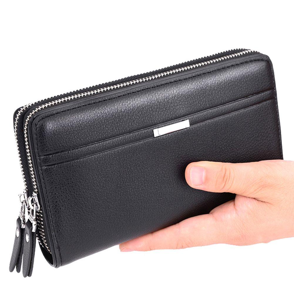 95828086e974 Coin Pocket Fashion Men Wallet Large Capacity Business Long Purse Double  Zipper Credit Vintage PU Leather Male Clutch