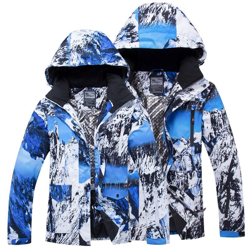 2019 Men Or Women Waterproof Windproof Ski Jacket Print Snow Mountain Snowboarding  Jacket Lovers Winter Warm Coat Snow From Bluelike a0ae27ada