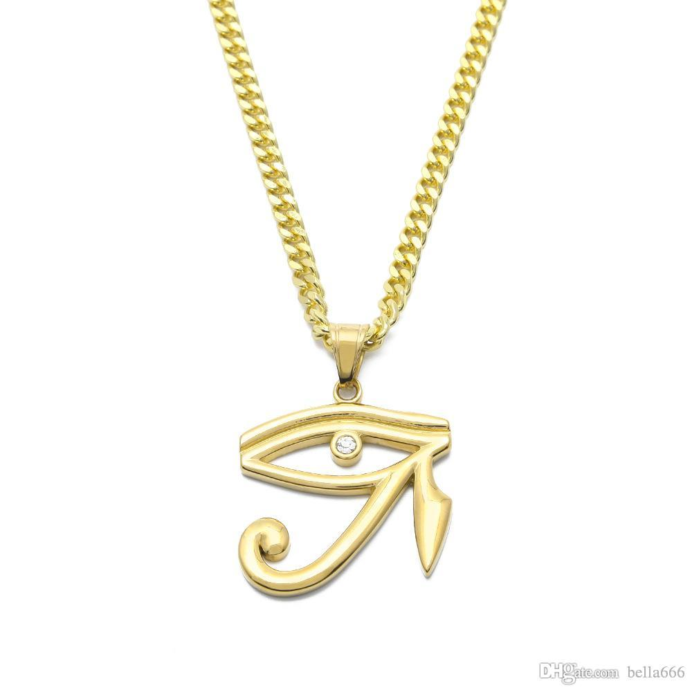 Hiphop Gold Plated Stainless Steel Pharaoh Patron Eyes Horus Egyptian Amulet Eagle Head God Pendant Wedjat Eye Necklace