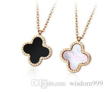 18K gold luxury logo 316L Stainless Steel Czech Crystals Clovers Charm Locket Stainless Steel Circle Shape pendant Clover Bijoux Clavicle