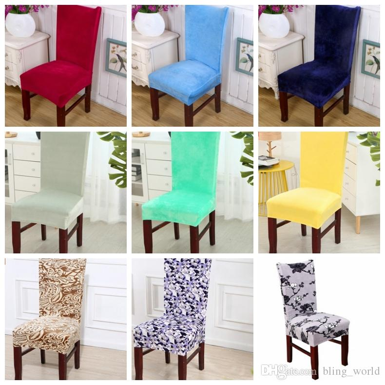 Chair Cover Velvet Elastic Cloth Solid Colors Covers Dining Room Seat Home Hotel Wedding Decoration YW1858 Chairs Slipcovers Small
