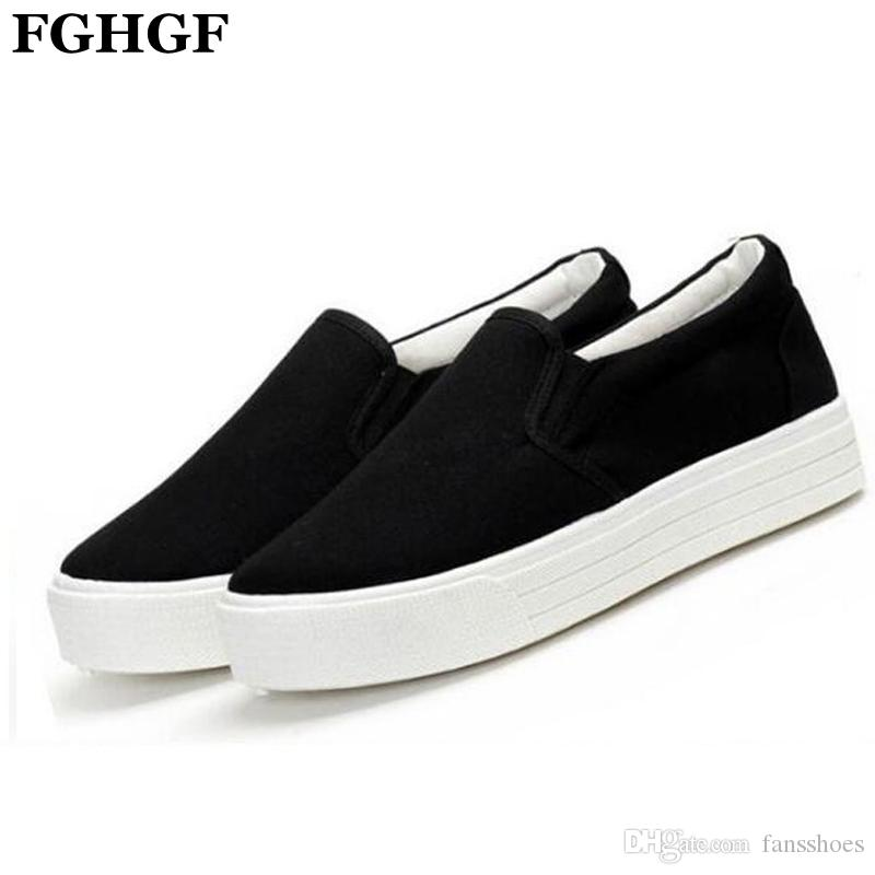 85cff5a5d Women Casual Canvas Shoes Spring ladies lovely Loafers white&black Flat  Heel Shoes Brand Women's Slip on Female footwear M195 #10993