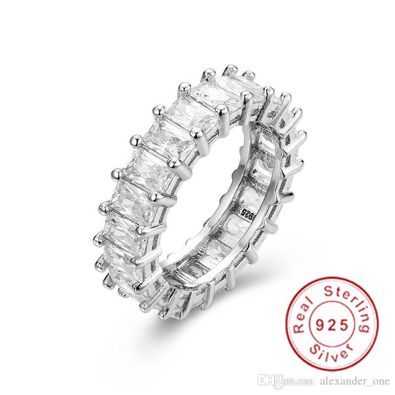 Platin Sterlingsilber Asscher Schliff Weißer Saphir Ewigkeitsring 4mm Ring-sz 9 Jewelry & Watches Fine Rings