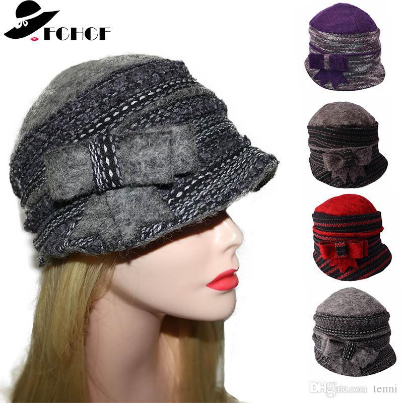 9c54bd00650 FGHGF Women s Thick Winter Hats Super Warm Pure Wool Cap Ladies Cloche  Bucket Fedoras Hat Wrinkled Beanie Cap With Elegant Bow Fedoras Cheap  Fedoras FGHGF ...