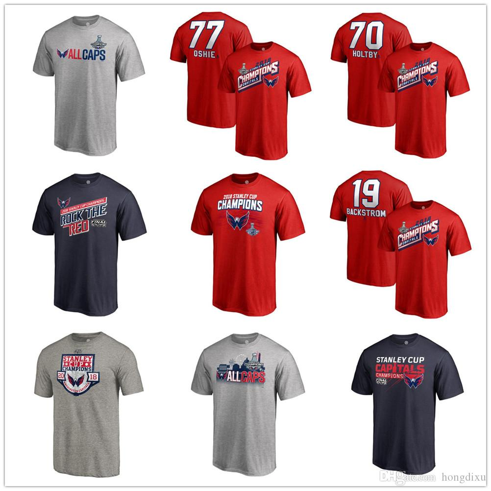 74f434303 2019 2018 Men S Stanley Cup Champions T Shirt Capitals Ovechkin TJ Oshie  Holtby Tom Wilson Kuznetsov Smith Pelly Nicklas Backstrom Hockey T Shirt  From ...