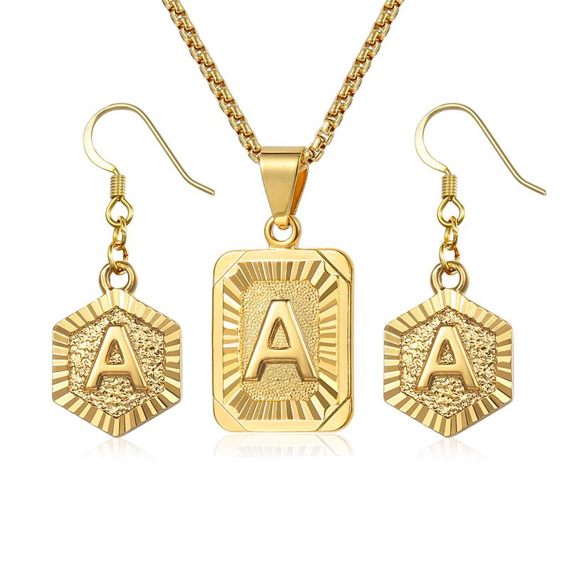 Initial Letter A Z Jewelry Set For Women Gold Box Pendant Necklace Dangling Earrings Set Woman Accessories Gifts Creative DGSM01
