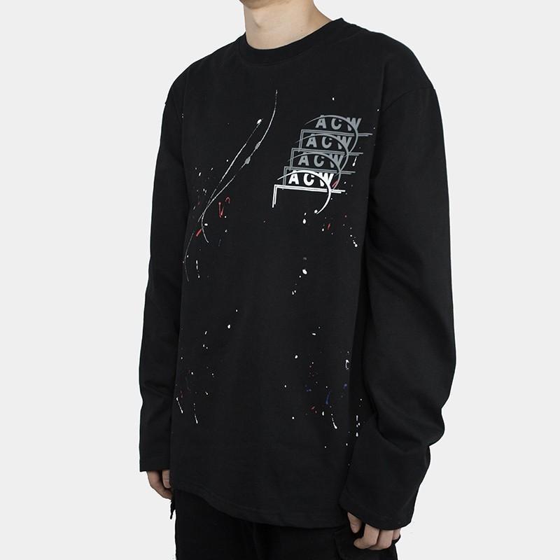 Hfymwy197 Rasé À Col Sweatshirt Pull Wall 18fw A Casual De T D'encre Éclaboussures Noir Longues Fashion Cold Acw Vintage Shirt Street Acheter Manches 0Y8w1x