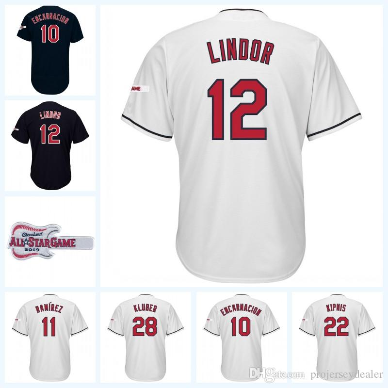 huge discount 74878 63059 Youth 12 Lindor Cleveland Edwin Encarnacion Jose Ramirez Trevor Bauer Jason  Kipnis Corey Kluber 2019 All-Star Game Patch Baseball Jersey